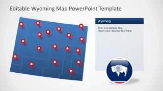 Editable Blue Map of Wyoming with Location Markers