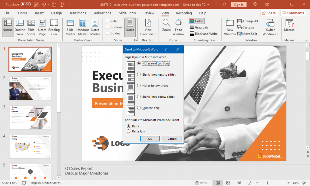Select Notes to Export in PowerPoint