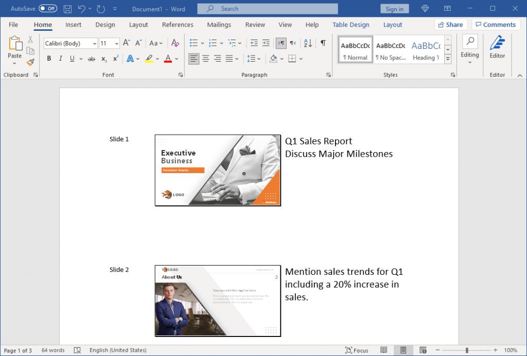 Speaker Notes Printing in Microsoft Word