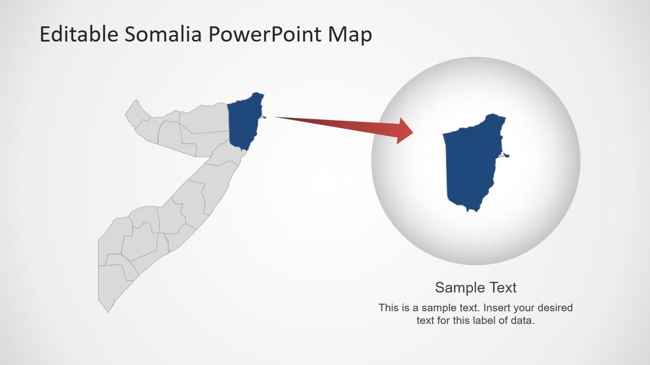 Outline Somalia Map Editable