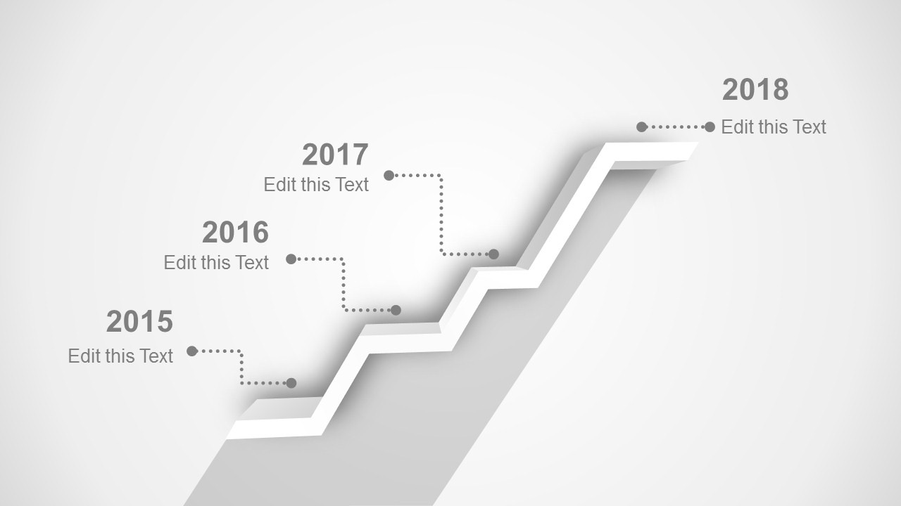 3D PowerPoint Timeline Black and White Design