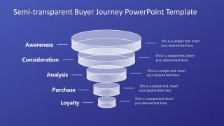 5 Level Semi-transparent Buyer Journey Funnel PowerPoint Template