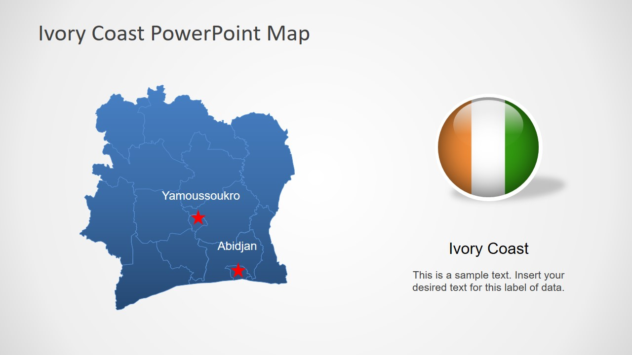 Editable Country Map Ivory Coast