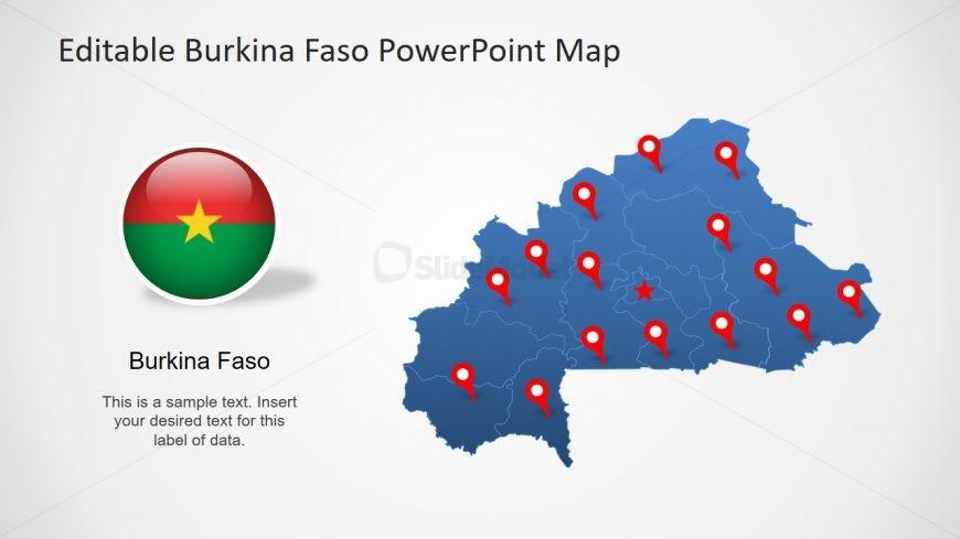 Editable Map Outline Burkina Faso
