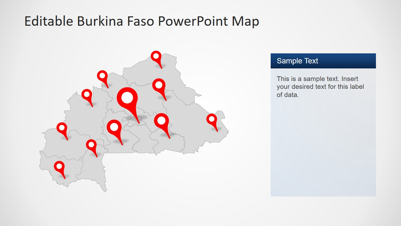 Editable Presentation of Burkina Faso Map
