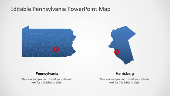 Blue Silhouette Pennsylvania Map PPT