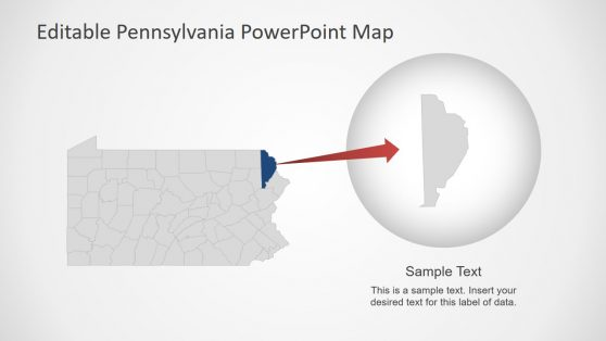 USA State of Pennsylvania Map PPT