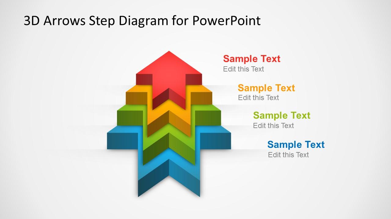 3d Arrows Step Diagram Template For Powerpoint Slidemodel