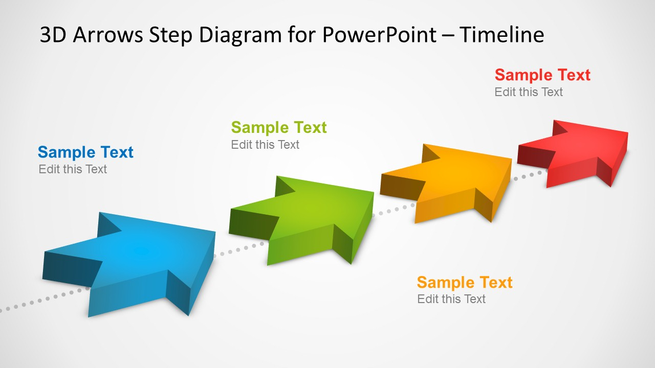 4 Milestones Timeline Template With 3d Arrows In