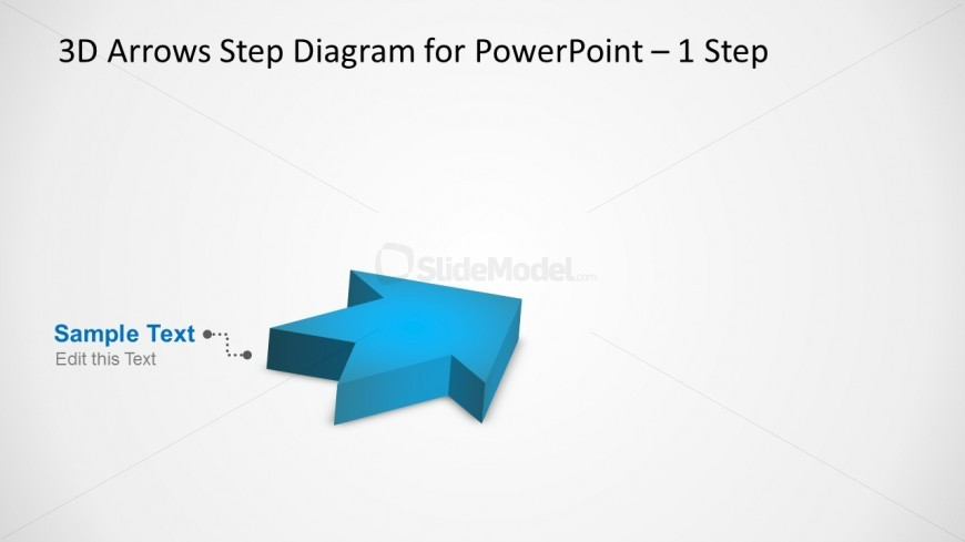3D Arrows Step Diagram Design for PowerPoint with a Single Step