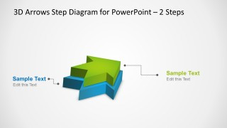 3D Arrows Step Diagram with 2 Steps