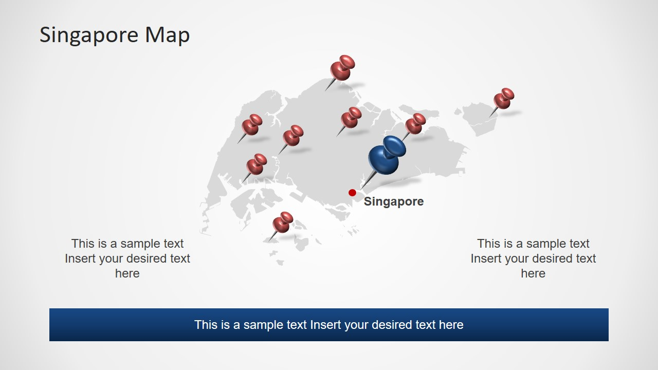 Location Pins and Map of Singapore