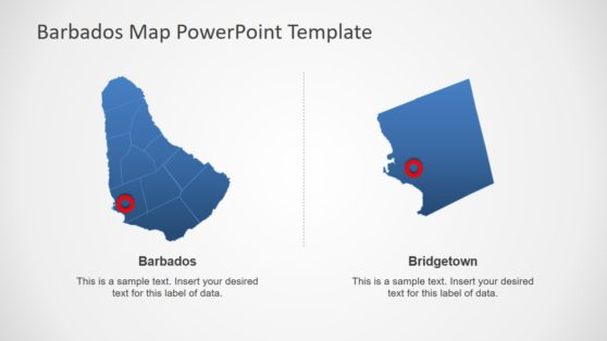 Barbados and City Highlight Map PPT
