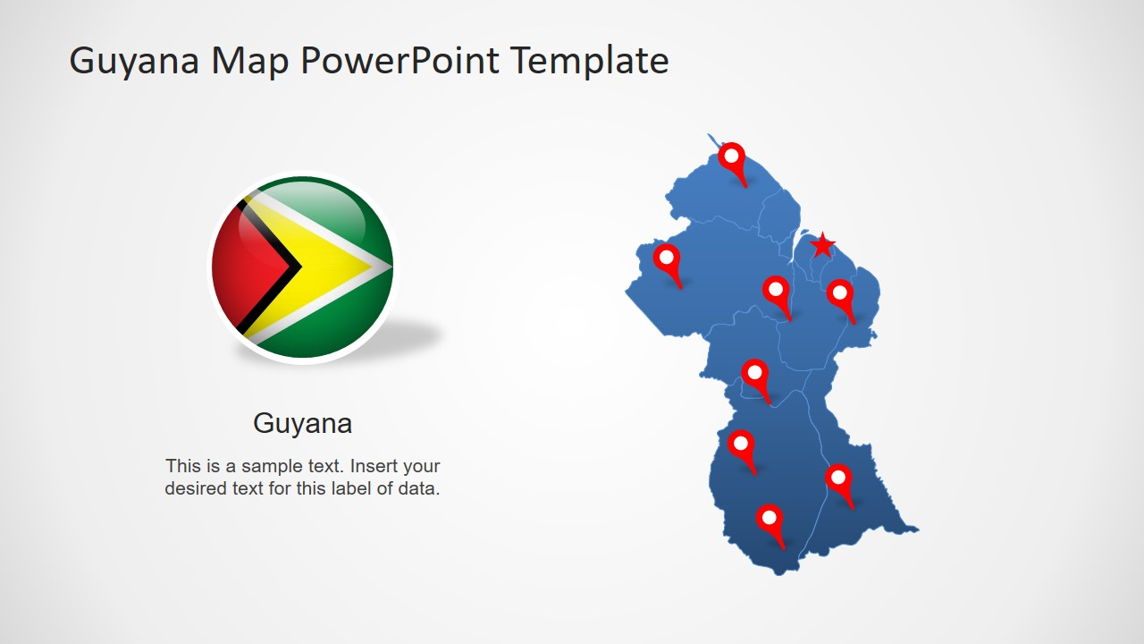 Editable Silhouette Map Guyana
