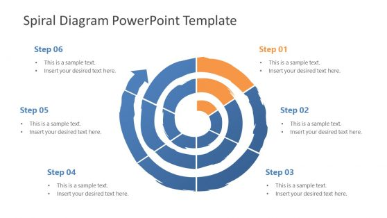 6 Steps Spiral PowrrPoint Diagram