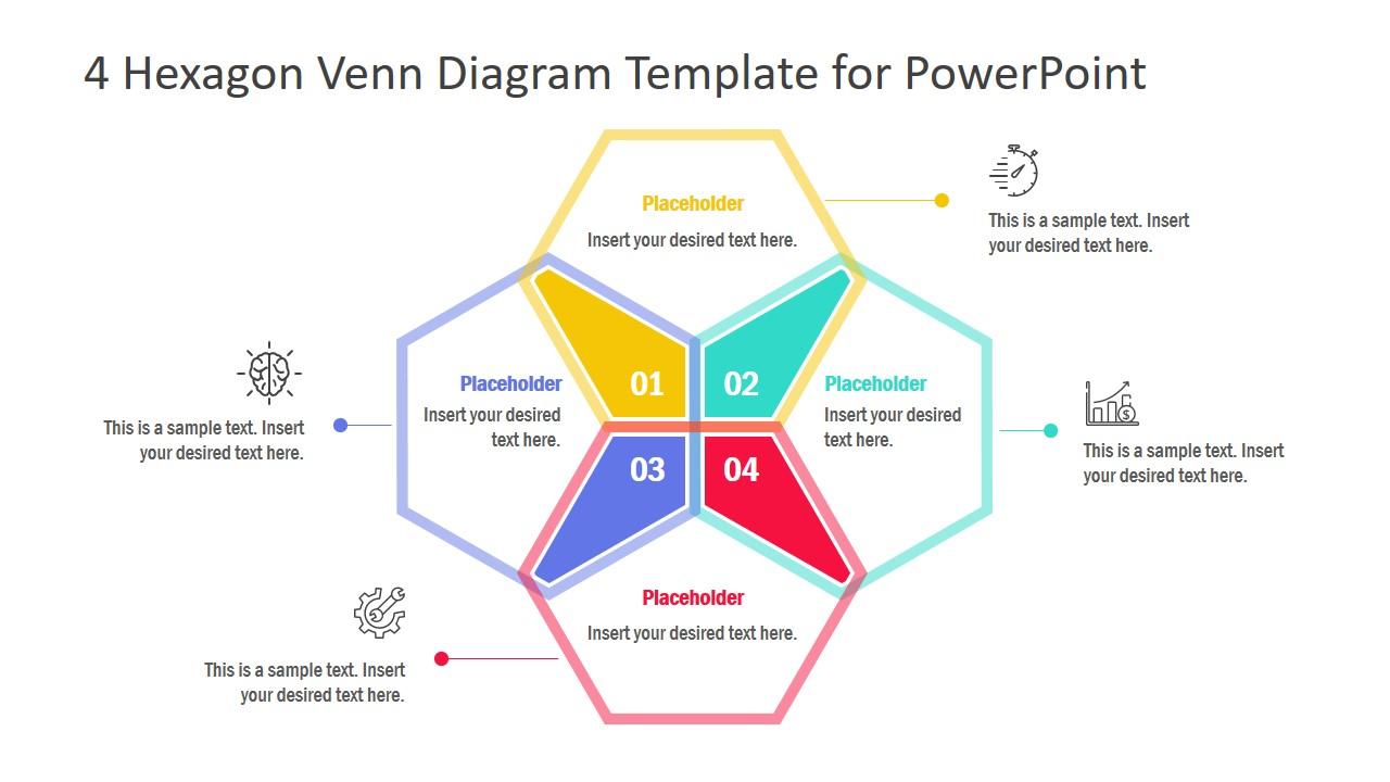 PowerPoint 4 Segment Hexagon Diagram