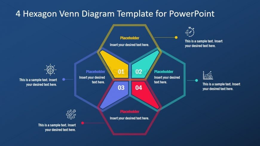 PPT Venn Diagram Template Hexagon