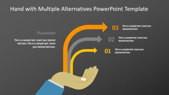 Hand and 3 Steps Multiple Arrow PPT