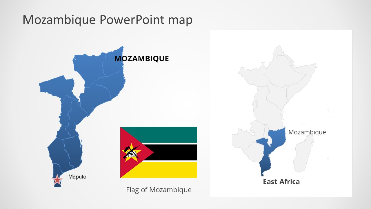 Template of Mozambique Map Outline