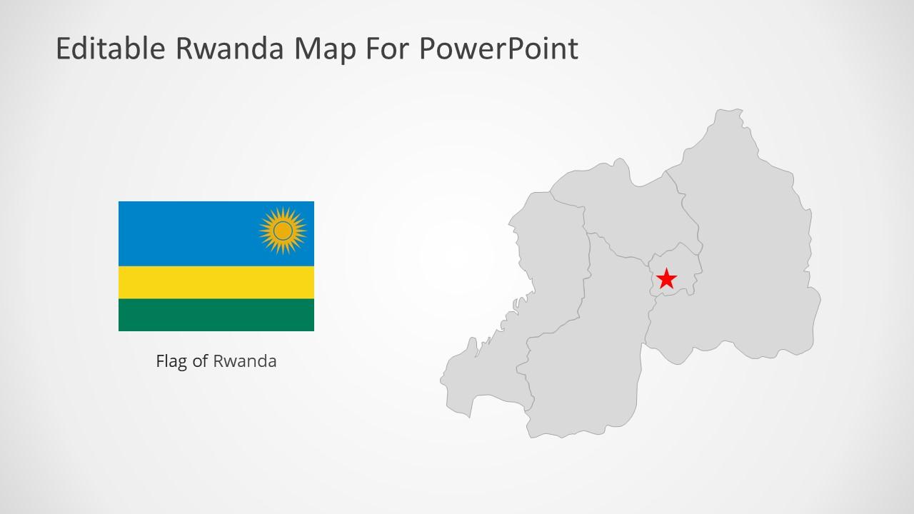 Silhouette Map for Republic of Rwanda
