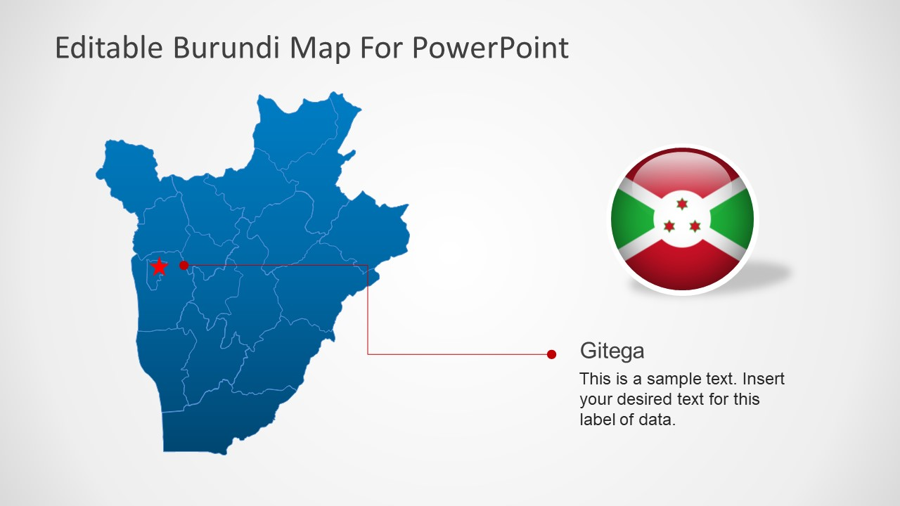 PowerPoint Country Map for Burundi