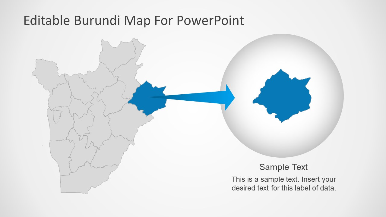 Slide of Burundi Editable Map Template