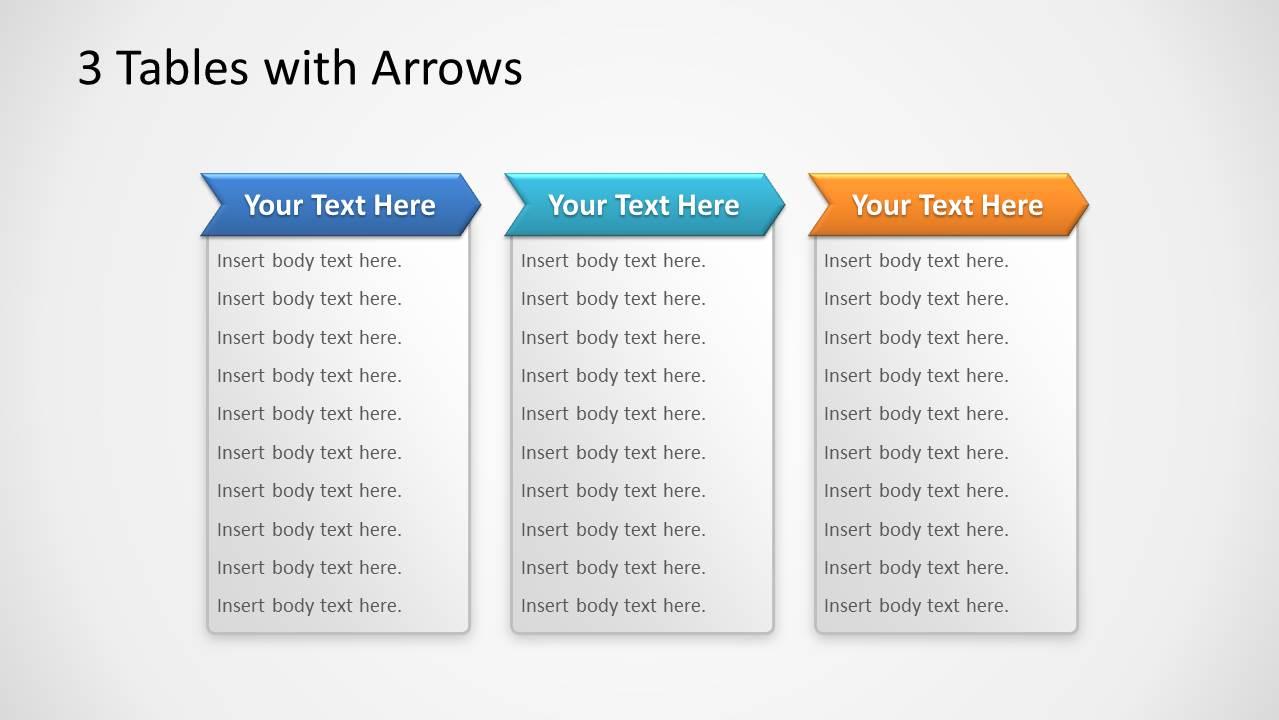 3 Table Columns PowerPoint Slide