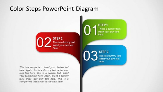 3 Options Color Steps PowerPoint Stake Diagram