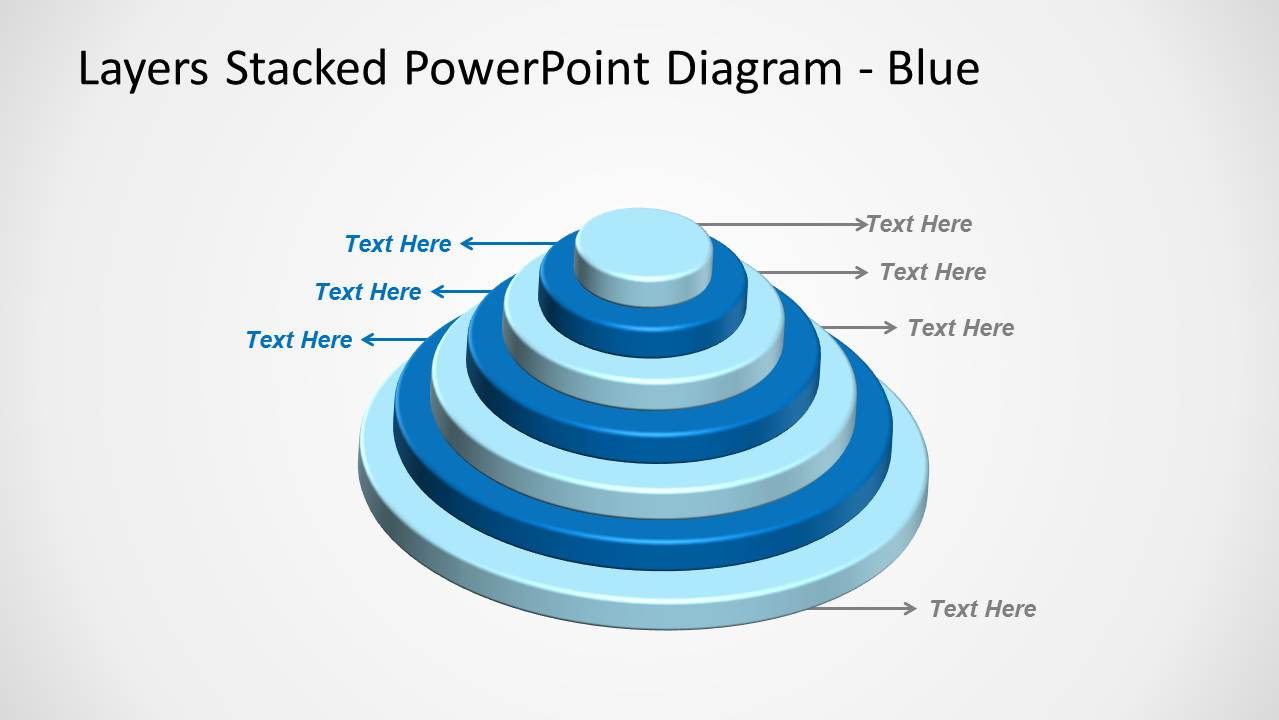 Blue Layered Stacked Diagram for PowerPoint Multi-Level with 7 Levels