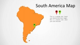 South America Orange 3D Map for PowerPoint
