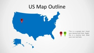 Outline United States map Blue Background