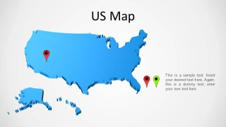 3D US PowerPoint Map Outline
