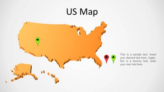 United States 3D Map for PowerPoint
