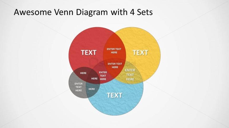 Grunge Venn Diagram Wide 4 Slidemodel