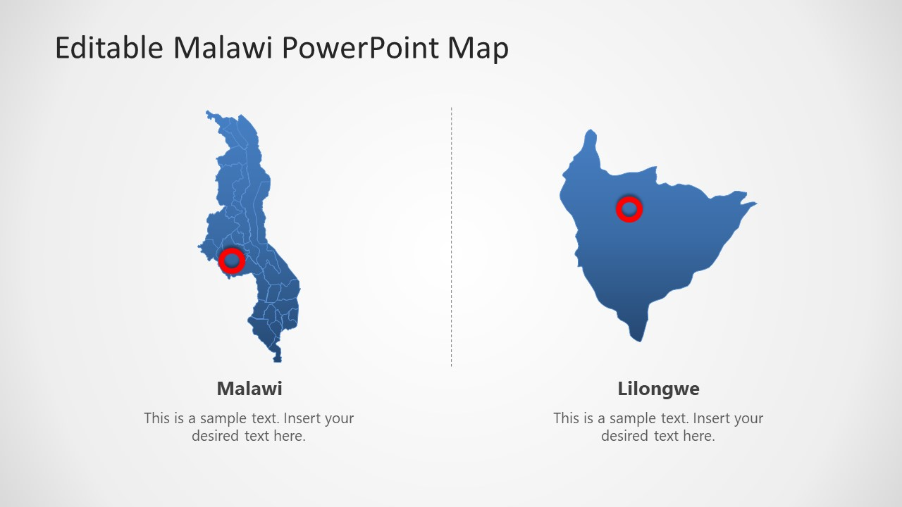 Editable Map of Malawi Africa