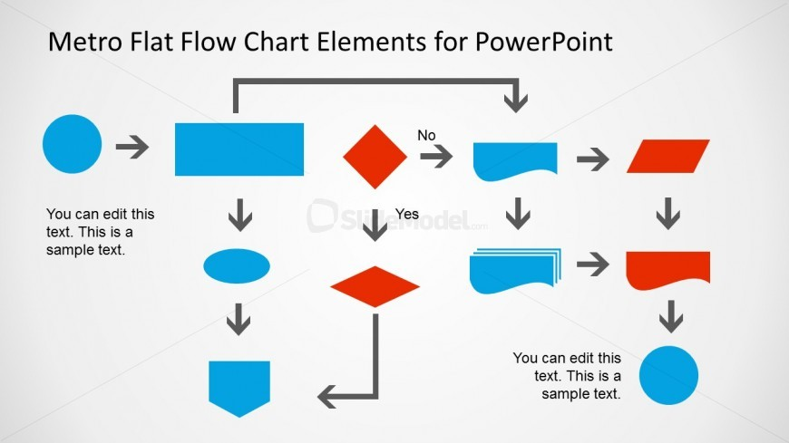 Metro Flat Flow Chart Example Slide For Powerpoint  Slidemodel