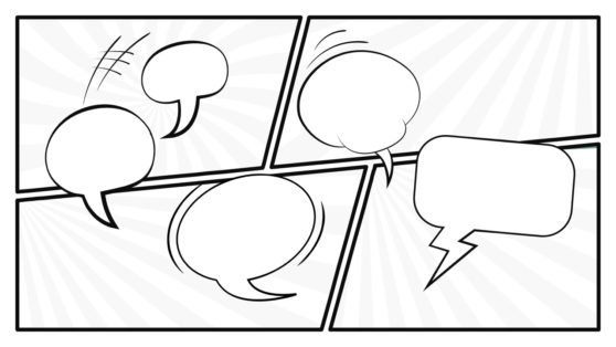 White and Black Speech Bubbles PPT