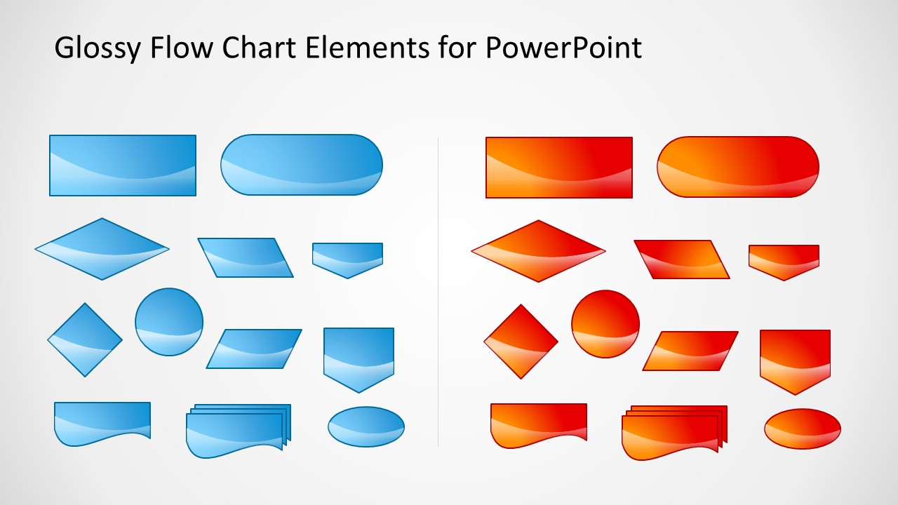 Glossy Flow Chart Template For Powerpoint Slidemodel Process Diagram Office 2010 Blue Red Shapes