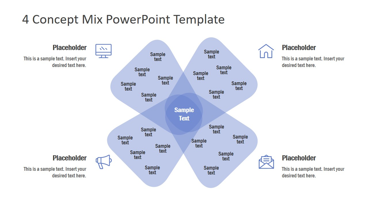 4 Concept Mix Powerpoint Template Diagram