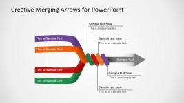 Slide with 4 Arrows Converging in 1 Final Arrow