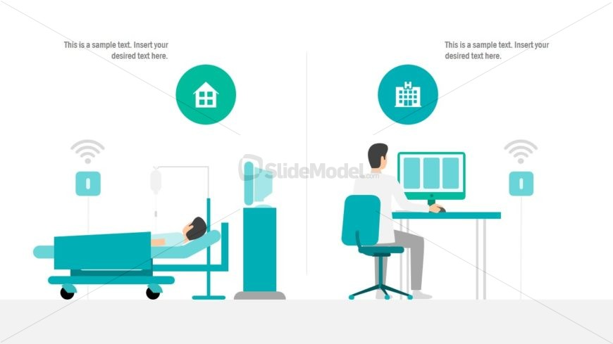 Telemedicine Template with Hospital Illustration