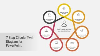 7 Step Circular Twirl Diagram PowerPoint Template