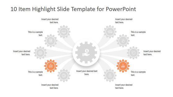 10 Item Highlight Slide Gears PPT