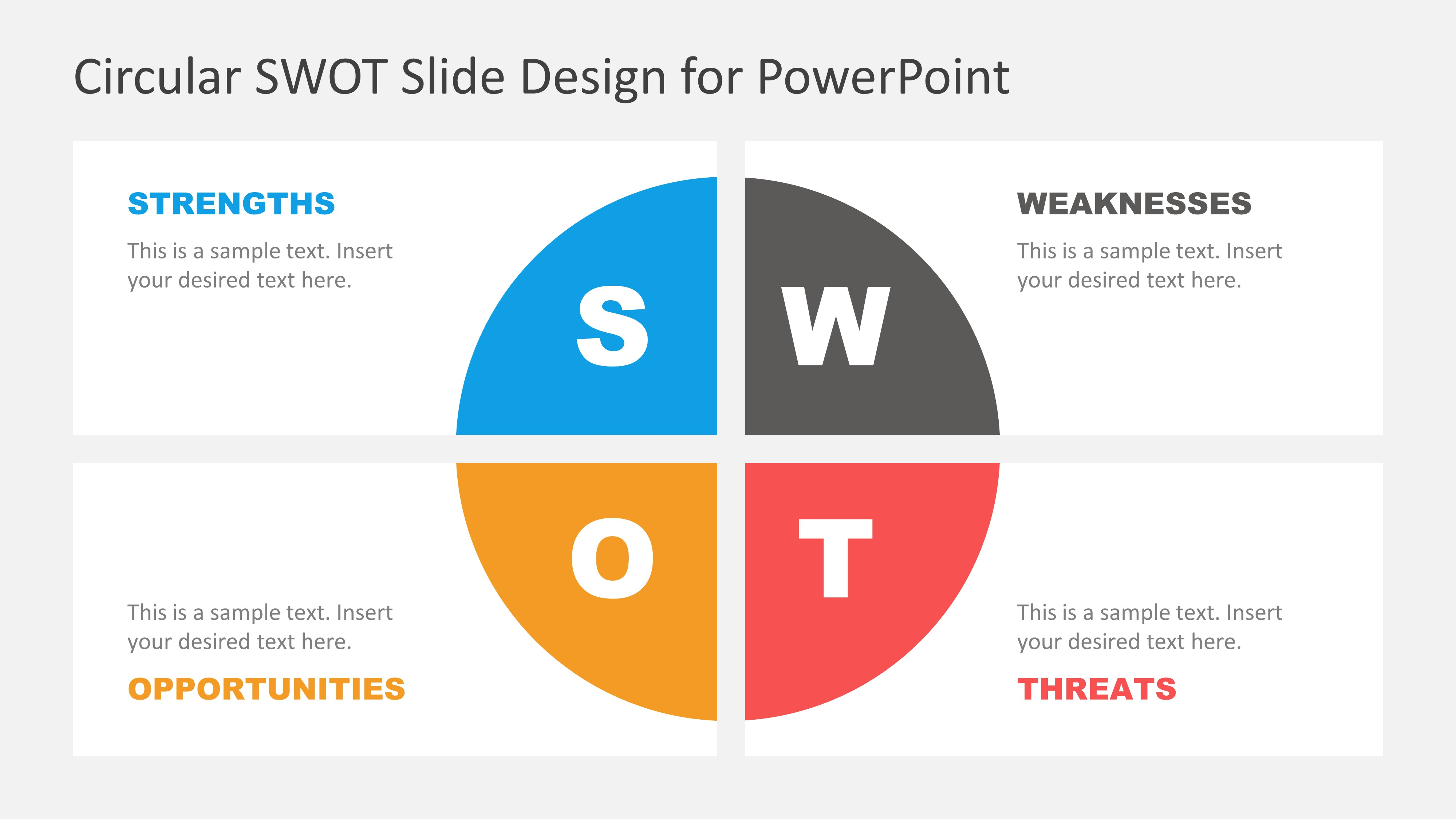 Flat SWOT Analysis PowerPoint