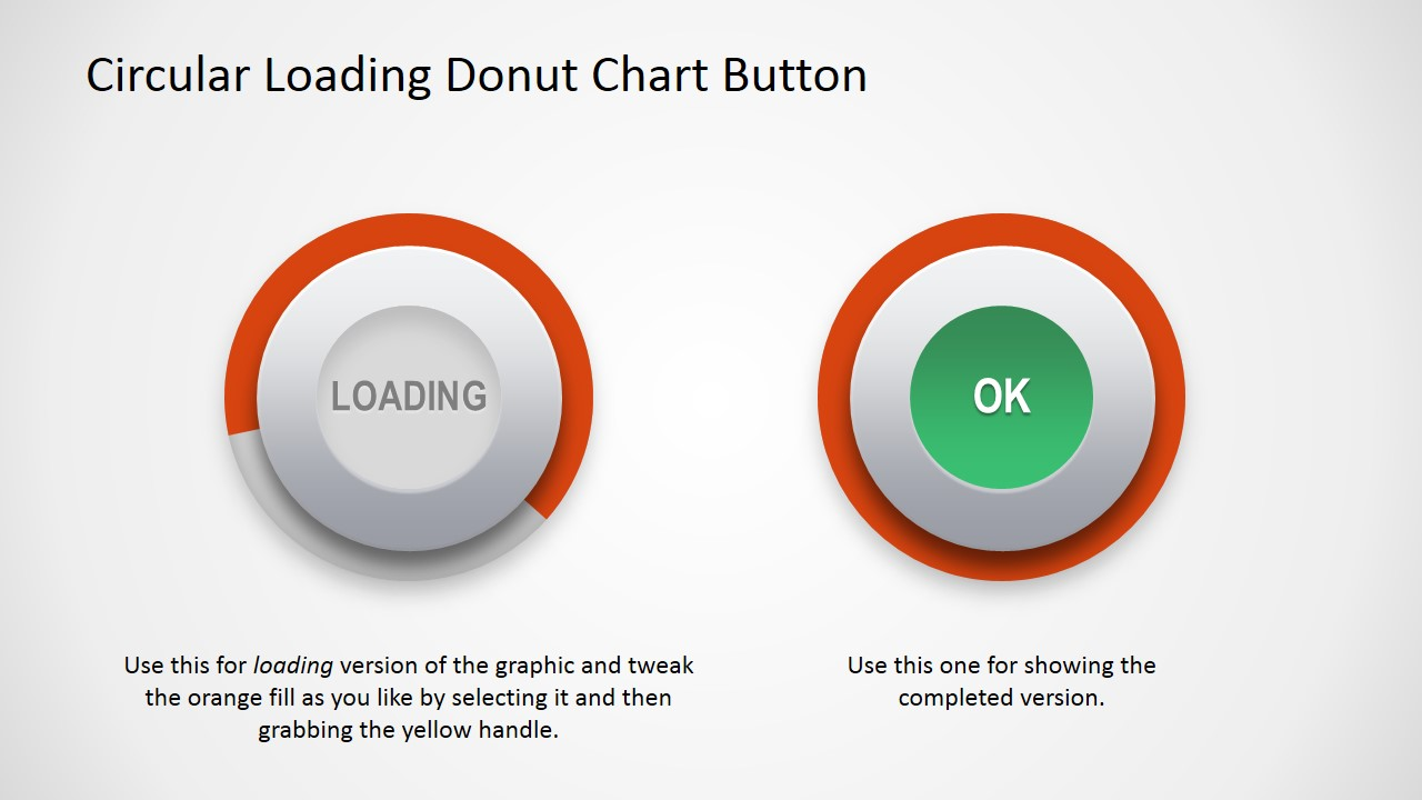 PPT Template Donut Chart Button Shape