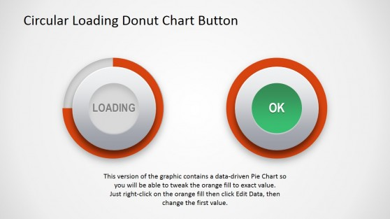 Button Shape with Donut Chart PowerPoint Template