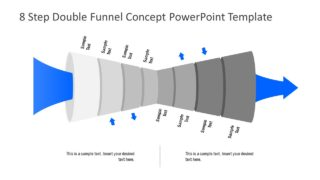 8 Step Double Funnel Concept PowerPoint Template