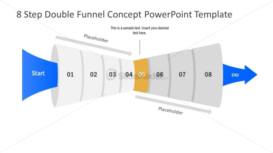 Funnel Diagram of 5 Step PPT
