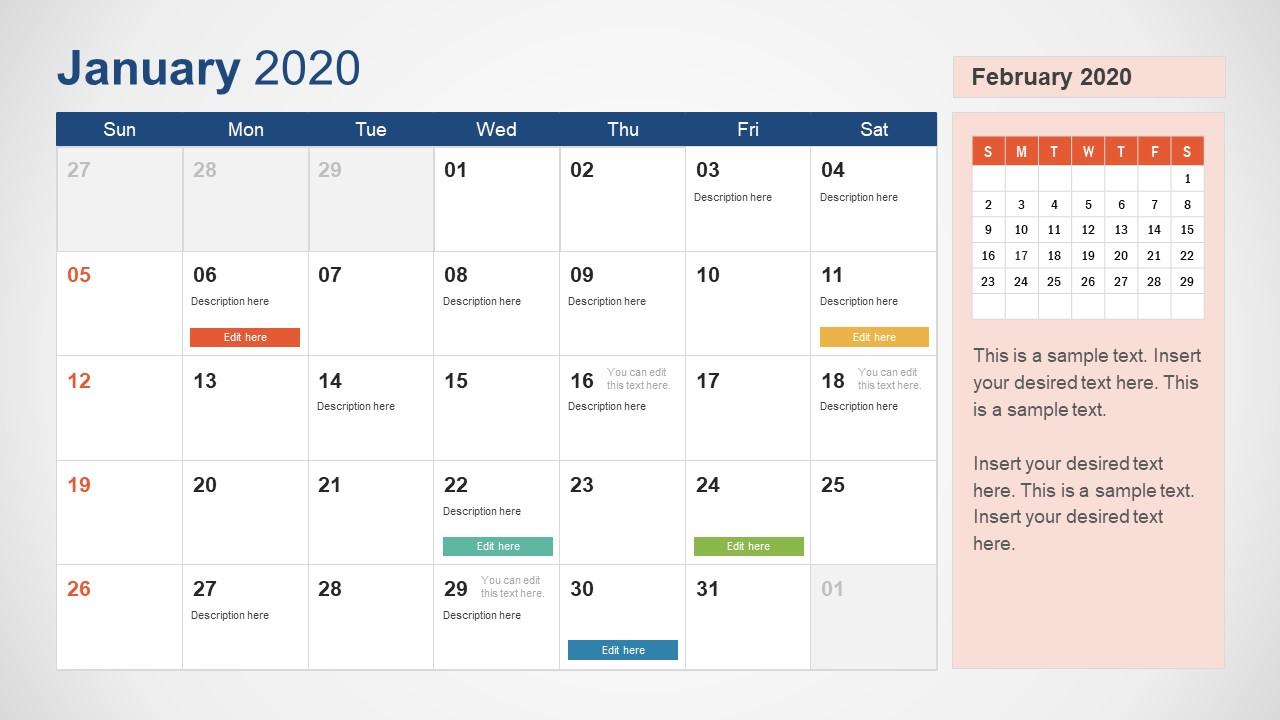 December January Calendar Template