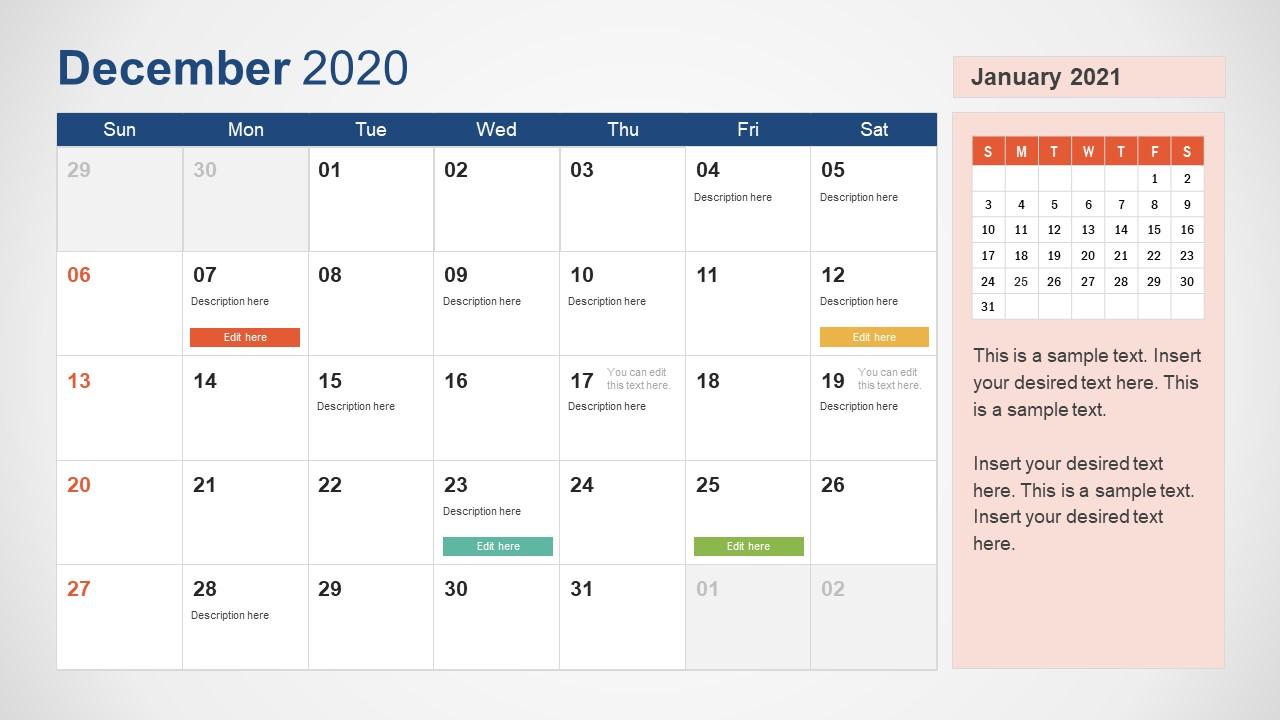 December Calendar PowerPoint Template for 2020